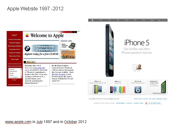 www.apple.com in July 1997 and in October 2012