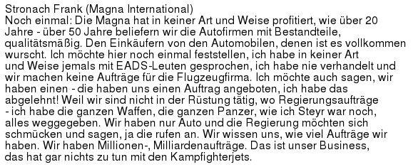 Auszug aus dem ORF-Transkript