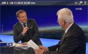 Frank Stronach (re) am 29.11.2012 zu Gast in der ORF-Sendung ZIB2